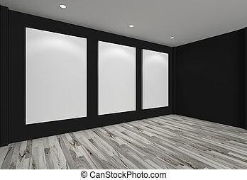 parete, tela, bianco, nero, galleria