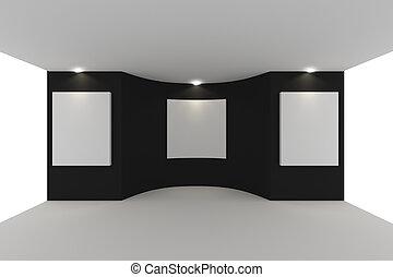 parete, tela, nero, galleria