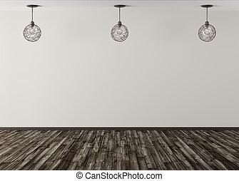 parete, tre, contro, interpretazione, lampade, sfondo beige, 3d
