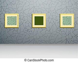 parete, tre, dipinti