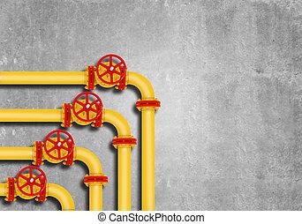 parete, tubi per condutture, gas, grigio, fondo