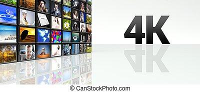 parete, tv, lcd, video, 4k, pannelli, tecnologia