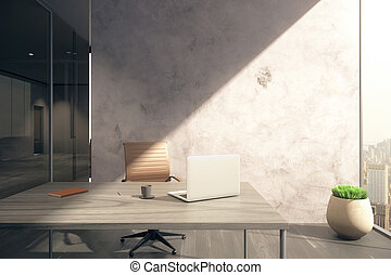 parete, ufficio, vuoto