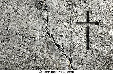 parete, vecchio, croce