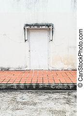 parete, vecchio, porta, fondo