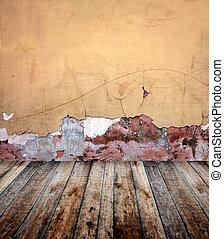 parete, vecchio, stanza, stucco
