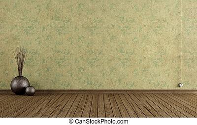 parete, vecchio, stanza, vuoto