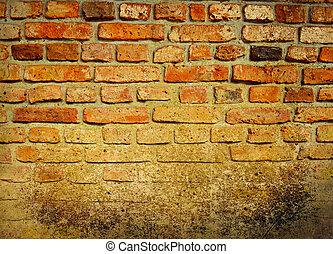 parete, vendemmia, mattone