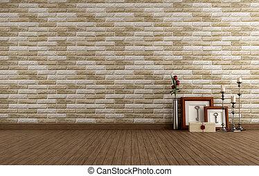 parete, vendemmia, mattone, stanza, vuoto