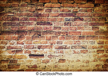 parete, vendemmia, mattone, vecchio, alterato