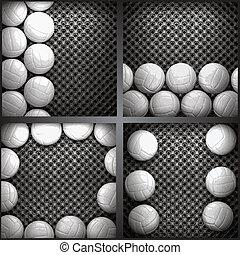 parete, vettore, metallo, pallavolo
