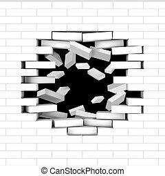 parete, volare, rotto, mattone bianco, mattoni