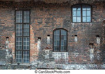 parete, windows, mattone