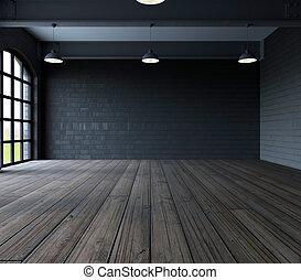 parete, windows, stanza, vuoto, vuoto
