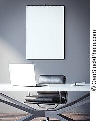 parete, workplace., interpretazione, vuoto, calendario, 3d