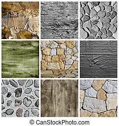 pareti, e, superfici, collage