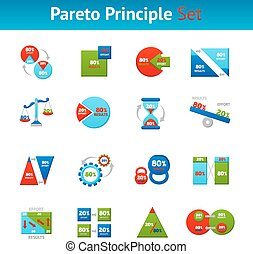 Powerful pareto principle 80 20 rule for business results flat icons set square abstract vector isolated illustration