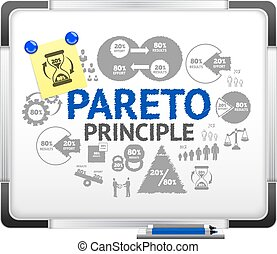 Pareto principle concept on realistic magnet board with paper note vector illustration