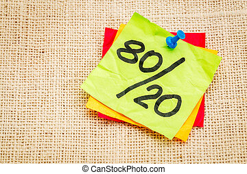 Pareto principle on sticky note - Pareto principle or...