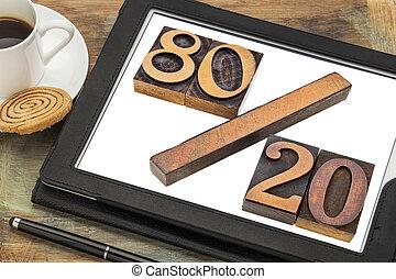 Pareto principle or eighty-twenty rule represented in wood...