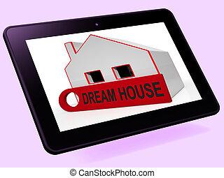 parfait, achat, tablette, maison, construction, étai, maison, rêve, ou, spectacles