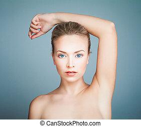 parfait, bleu, beauté, sain, spa, arrière-plan., peau, portrait, modèle, girl