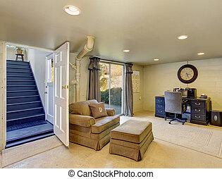 parfait, bureau maison, à, bleu marine, bureau, et, bronzage, chair.