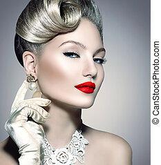 parfait, coiffure, femme, beauté, maquillage, retro