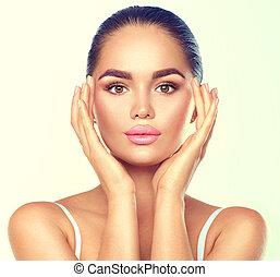 parfait, concept, elle, beauté, face., maquillage, skincare, toucher, femme, brunette, spa