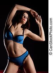 parfait, corps, femme, beauté, bleu, lingerie