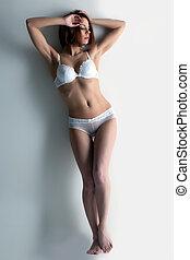 parfait, corps, femme, jeune,  Lingerie, blanc