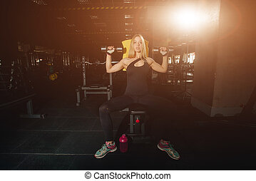 parfait, corps, girl, gymnase, poser, usure, fitness, sexy, sourire, sport, blond, heureux