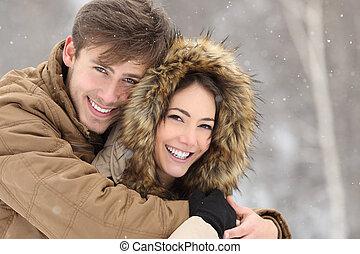 parfait, couple, rire, dents, sourire, blanc
