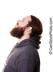 parfait, debout, gros plan, sien, beard., jeune, contre, gris, barbu, quoique, toucher, fond, homme, barbe