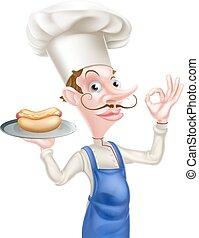 parfait, donner, signe, chef cuistot, tenue, hot-dog