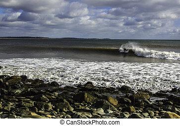 parfait, ensoleillé, surfeur, ressacs, vague, jour