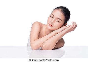 parfait, femme, beauté, concept., jeunesse, portrait., asiatique, peau, spa, soin