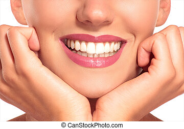 parfait, femme, closeup, dents, sourire, blanc