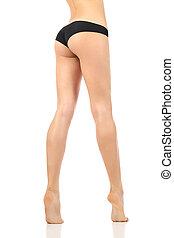 parfait, femme, long, cirer, fesses, jambes