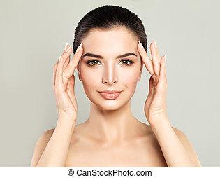 parfait, femme, sain, beauté, cosmétologie, skin., concept, traitement, facial, spa, modèle