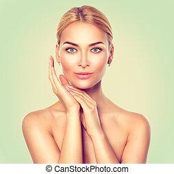 parfait, femme, station thermale beauté, portrait., peau, frais