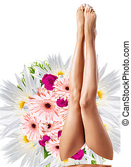 parfait, fleur, grand, sur, bouquet., femme, jambes