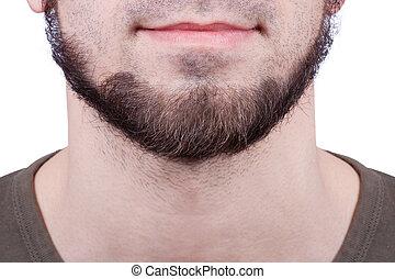 parfait, gros plan, beard., jeune, homme barbu