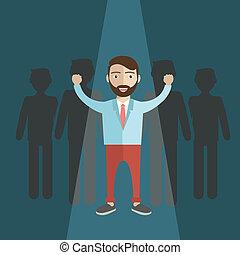 parfait, humain, candidat, concept., métier, choisir, ressources