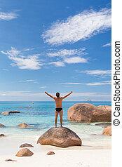 parfait, image, femme, île, lazio, praslin, apprécier, plage, anse, seychelles.