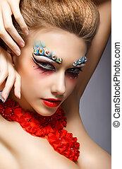 parfait, mode, visage femme, à, strass, -, clair, oeil, makeup., théâtre