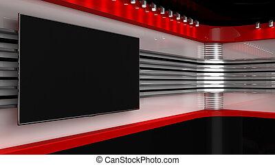 parfait, ou, rendering., tv, photo, écran, chroma, vert, production., .tv, vidéo, toile de fond, clã©, nouvelles, wall., spectacles, n'importe quel, studio., 3d