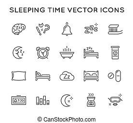parfait, pixel., ensemble, icons., vecteur, sommeil, mince, ...
