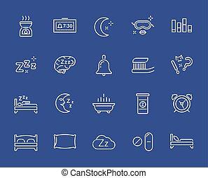 parfait, pixel., ensemble, icons., vecteur, sommeil, mince,...