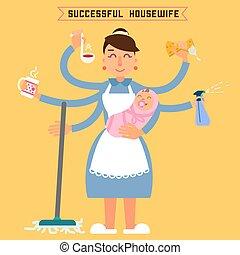 parfait, plat, wife., femme, illustration., réussi, style, housewife., vecteur, mom., multitâche, woman., super, mother., baby.